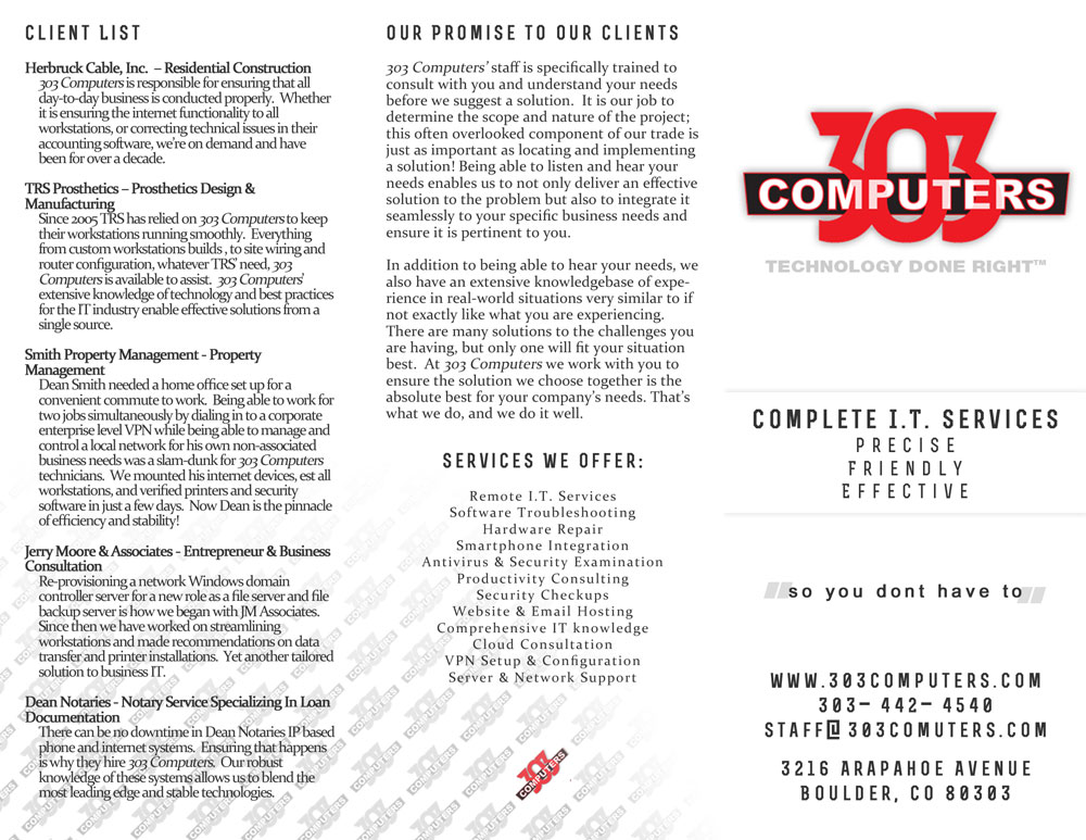 303 Computers brochure graphics